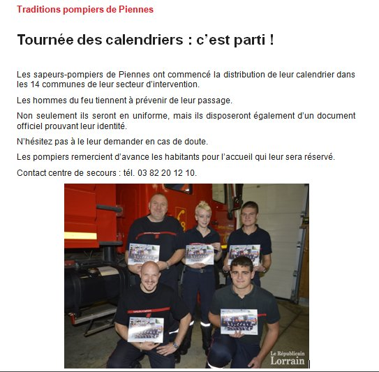 Tournee calendriers 2016